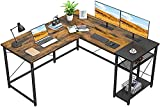LARGE SPACE & STORAGE – TEKAVO - L shaped with big desk panel and storage shelves can offer plenty of space for your keyboard and mouse when working, study, gaming, doing the industrial work in workstation, workbench and other home office activities....