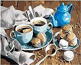 WOWDECOR DIY Malen nach Zahlen Kits Geschenk für Erwachsene Kinder, Malen nach Zahlen Home Haus Dekor - Kaffee Makrone Keks Tasse Teekanne 16 x 20 Zoll (X7043, Ohne Rahmen)