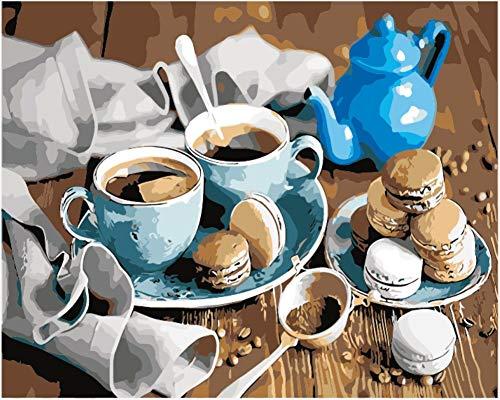 WOWDECOR DIY Malen nach Zahlen Kits Geschenk für Erwachsene Kinder, Malen nach Zahlen Home Haus Dekor - Kaffee Makrone Keks Tasse Teekanne 16 x 20 Zoll (X7043, Rahmen)