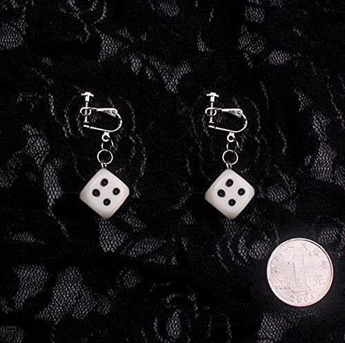 Creative dice Clip on Earrings Women Hiphop Rock Party Dice Clip Earrings Without Piercing for Girls 2019 Jewelry