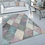 Paco Home Teppich Wohnzimmer Bunt Pastellfarben Rauten Muster 3-D Design Kurzflor Robust, Grösse:60x110 cm