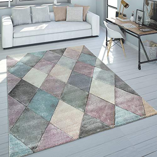 Paco Home Teppich Wohnzimmer Bunt Pastellfarben Rauten Muster 3-D Design Kurzflor Robust, Grösse:80x150 cm
