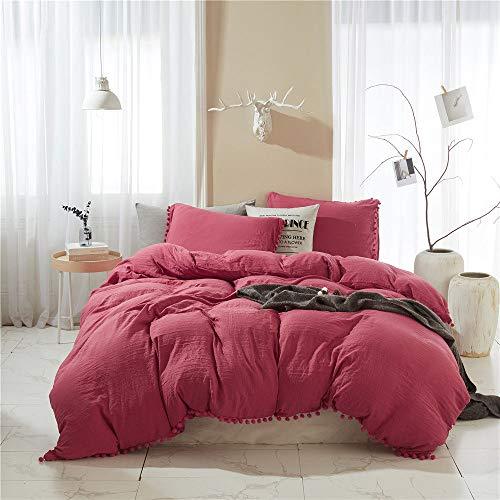 Juego de cama de 4 piezas de algodón de tres piezas de bolas de pelo de 3/4 piezas, juego de ropa de cama de color rojo, funda de almohada, ropa de cama individual, doble, tamaño Queen, 180 x 220 4