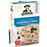 Made with delicious sweet blueberries and a touch of cream. Box contains 10 (1.23oz) packets Quaker Instant Oatmeal is made from 100% whole grain Quaker Oats Good source of iron, calcium and 7 other essential vitamins and minerals Also available in P...