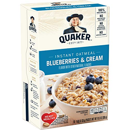 Quaker Instant Oatmeal Blueberries amp Cream Individual Packets 10 Count