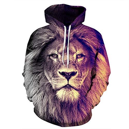 ZXMWY Lion Print Clear Felpa con Cappuccio Ultimi Arrivi Color Blocks Felpa con Spessore Medio Plus Size Coat, As Show, S