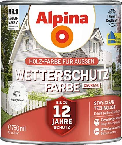 Holz Farbe für Aussen, Wetterschutz Farbe Deckend, Weiss Seidenglänzend 2,5 Liter