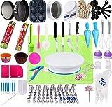 LXWLXDF-Molde para hornear, 106-Piece Herramientas de la placa giratoria Consejos de tuberías de Boquillas de la torta de la hornada con boquillas de acero inoxidable de silicona aflautada del bolso (