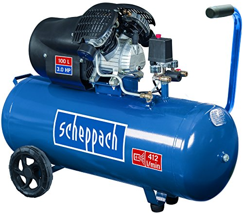 Scheppach Kompressor HC100DC (2200 Watt, 100 L, 8 bar, Ansaugleistung 412L/min, Druckminderer, ölgeschmiert, Doppelzylinder)