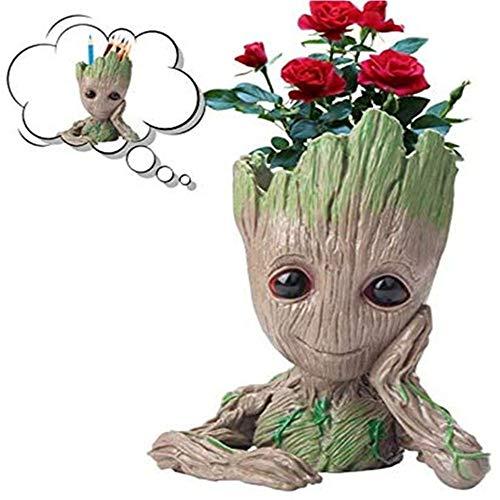 LIQING Cartoon Puppe Groot Tree Man Blumentopf Galaxy Guard Leichte Stifthalter Pflanze Blumentopf handgefertigt Geeignet für Outdoor Indoor Holiday Geschenke (Meditation)