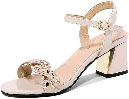 LTN Ltd - sandals Sandales pour Femmes Mot Féminin avec Strass D'été épais avec des Chaussures à Talons Hauts pour Filles Chaussures pour Femmes, Chamois, 34