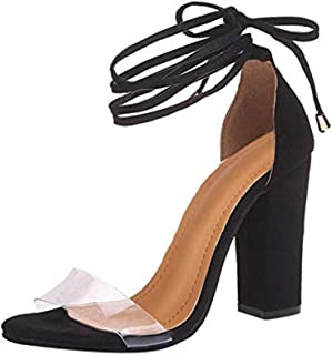 MayBest Womens Ankle Strap Sandal Transparent Open Toe Chunky High Heel Shoes