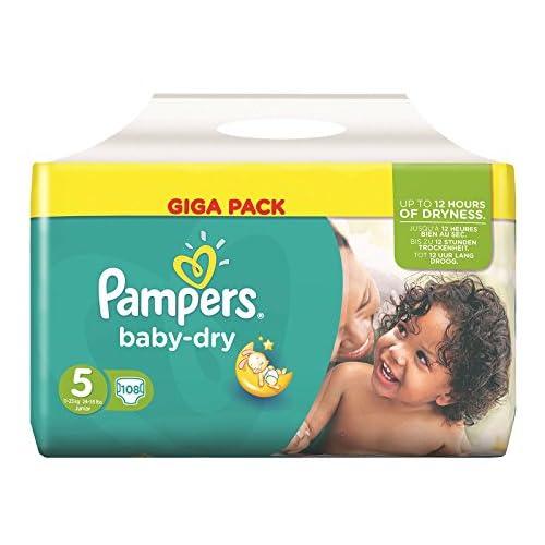 Pampers Baby Dry - Maxi confezione da 108 pannolini, misura 5, per bambini da 11 a 25 kg di peso