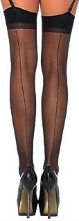 LegAve Leg Avenue Damen Straps Strümpfe Nylon 20 DEN Schwarz Transparent Matt Optik mit rückwärtiger Naht Einheitsgröße 36 bis 40