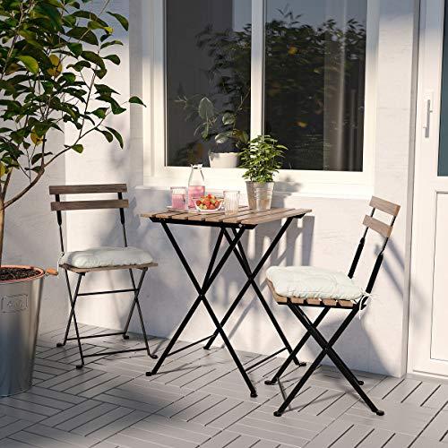 IKEA TÄRNÖ 2 silla y mesa, plegable al aire libre negro/marrón claro manchado