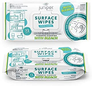 Juniper Clean Surface Cleaning Wipes with Bleach 72 Count Soft Flow (Pack of 6)