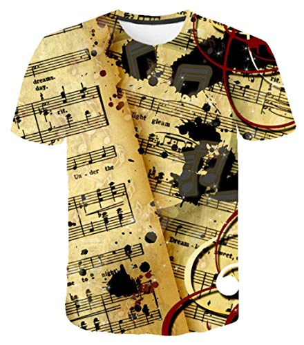 T Shirt,Pittura A Olio Note Musicali Musica Top Girocollo Tempo Libero Sport Moda Uomini E Donne 3D Neutro T Shirt Color Mixing S