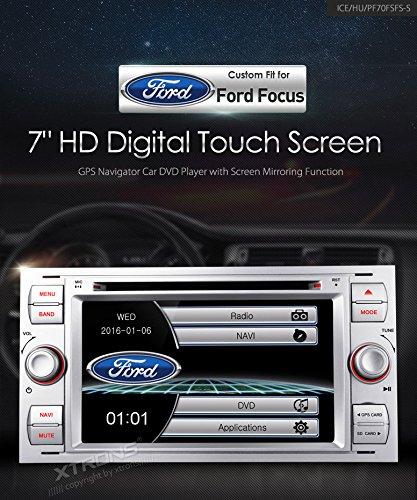 xtrons Plata 7Pulgadas HD de pantalla táctil estéreo del coche reproductor de DVD con navegador GPS, Bluetooth, RDS Radio de pantalla Función Mirroring para Ford Focus S-Max Mondeo