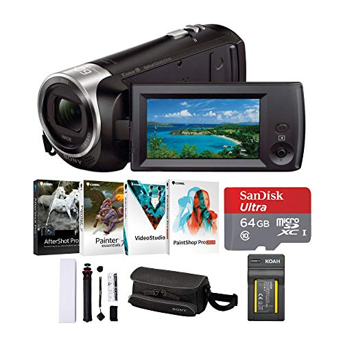 Sony CX405 Handycam 1080p Full HD Camcorder with Exmor R CMOS Sensor (Black) with Software Suite and 64GB SD Card Bundle (6 Items) -  HDRCX405B_K10