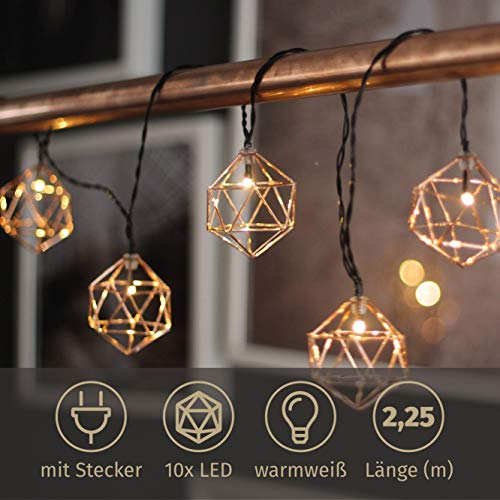 Lichterkette Indoor Copper Lines 10 LED warmweiß Roségold Kupferornamente warmweiß 2,25 Meter Kette mit Stecker