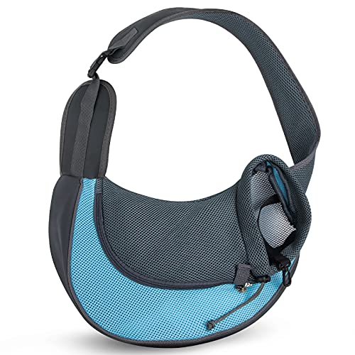 Depets Dog Carrier Sling, Breathable Mesh Pet Sling Carrier for Dogs Cats Puppy, Portable Travel Pet Sling Bag Carrier with Non-Slip Shoulder Strap, Size M