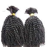 Afro Kinky Curly Braiding Human Hair Bulk Mongolian Remy Hair Bulk No Weft Wholesale Braids Bulk Hair Bundles 100g 1Bundle/order (10inch 1bundle, 1(Jet Black))