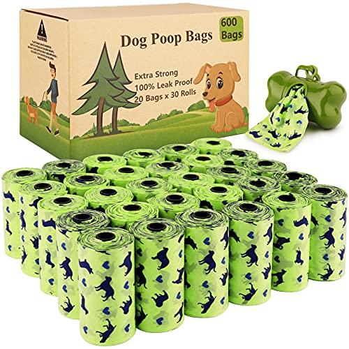 Amzeeniu Bolsas Caca Perro 600 Unidades/20 Rollos Verdo Bolsa para excrementos de Perro Bolsas Perro con 1 Dispensador de Bolsas,Fuerte y a Prueba de Fugas Bolsas para Caca de Perro,Dog Poo Ba
