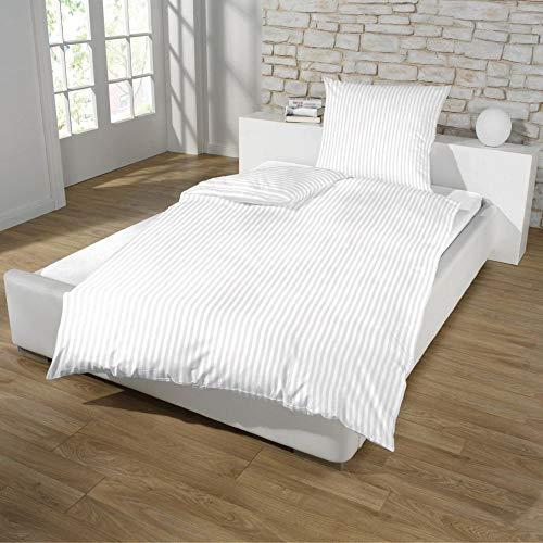 Dreamhome Hotel Damast Streifen Bettwäsche 135x200 + 80x80 Kissenbezug Bettbezug für Bettdecke Steppdecke mit Baumwolle Farbe: WEISS, Größe: HOTELVERSCHLUSS