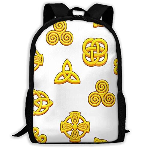 Mochila Escolar Símbolos celtas Mochila Celta Dorada Bolsa de Viaje Informal para Adolescentes Niños Niñas