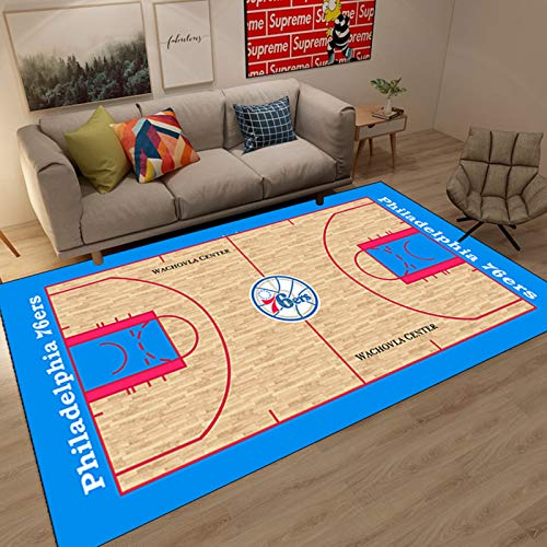 WYBY 76ers Alfombra de cancha de Baloncesto, Rectangular, Creativa Grande Alfombra Antideslizante pequeña para Sala de Estar Dormitorio sofá Cama Alfombra 80 * 160CM