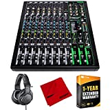 Mackie ProFX12v3 12 Channel Professional Effects Mixer with USB Bundle with Audio-Technica ATH-M20X Professional Monitor Headphones, Deco Gear Microfiber Cleaning Cloth and 1 Year Extended Warranty