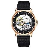GUANQIN Skeleton Tourbillon Reloj de pulsera automático mecánico para hombre, de acero inoxidable, de cuero, de caucho, cristal de zafiro, resistente al agua, reloj luminoso