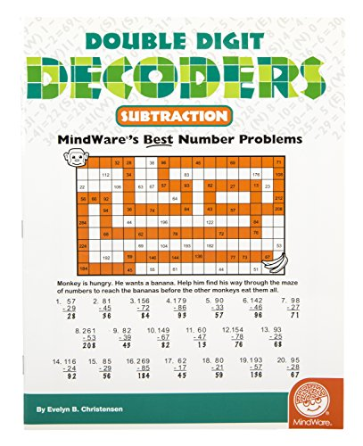 MindWare – Double Digit Decoders: Subtraction – 30 Unique Puzzles With Up To 20 Problems – Teaches Subtraction