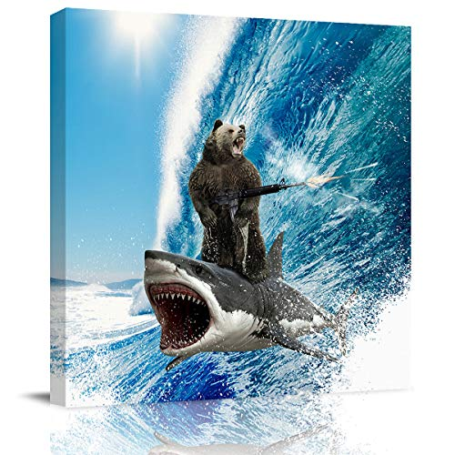 ALAGEO Canvas Print Wall Art Funny Bear Shark Surfing Oil Paintings Printed on Canvas Gallery Wrapped Canvas Art Creative Pattern Pictures Paintings Framed Artwork for Home Decor - 8x8 inches