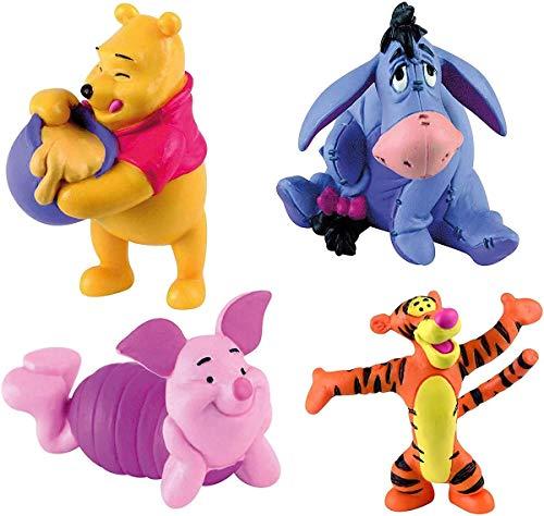 Bullyland - Juego de 4 figuras de Winnie the Pooh con Winnie, I-Ah, Piglet y Tigger.