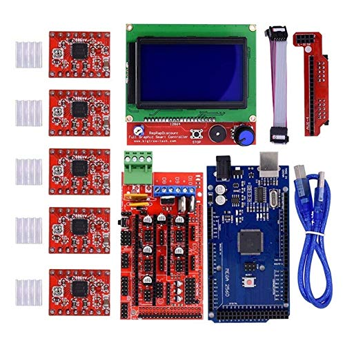 N / A 3D Printer Kit with RAMPS 1.4 Controller + Mega 2560 board + 5pcs A4988 Stepper Motor Driver with Heatsink + LCD 2004 Graphic Smart Display Controller
