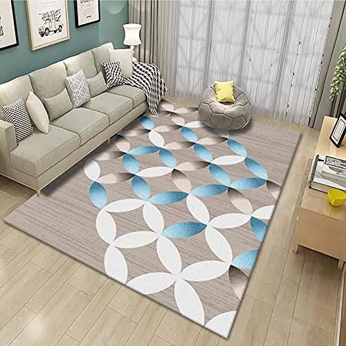 CLYDX Alfombras Salon Habitación Alfombra Pasillo Lavables Rug Dormitorio Sala de Estar Alfombra Antideslizante Alfombra para el Juego de los niños Decora el 60x90 cm (Circulo Azul)