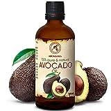Olio di Avocado 100ml - Persea Gratissima - Sudafrica - Naturale e Puro al 100% - Cura per Viso - Corpo - Capelli e Pelle - Ottimo con Olio Essenziale - Massaggi - Cosmetici - Bottiglia di Vetro