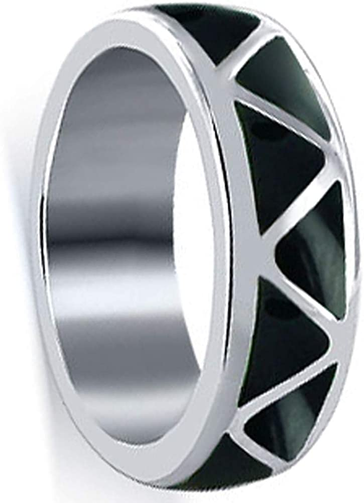 Southwestern Style Simulated Excellent Black Onyx Wedding Band New product!! Resin Inlay