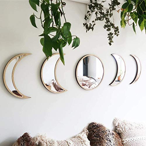 GUOJOZO Acrylic Moon Phase Mirror Set (5 PCS), Scandinavian Natural Moonphase Decor Bohemian Moon Mirror, Wall Decor for Living Room Bedroom, No Need to Punch【Not Actual Mirror】 (Beige)