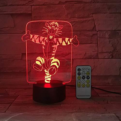 BFMBCHDJ Nette Tiger-Nachtlicht 3D USB Note u. Fernsteuerungsacryl gravieren 7 Farben ändern Atmosphären-Tischlampe Kindergeschenke