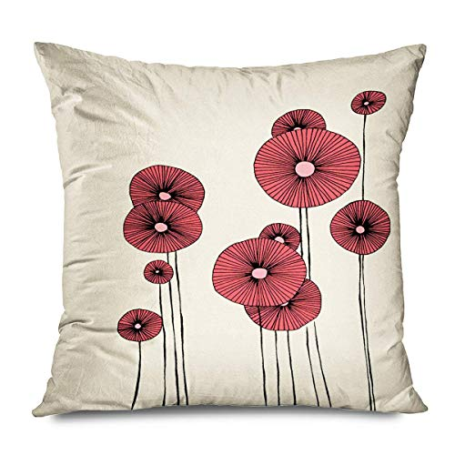 Funda de almohada con diseño de girasoles creativos, flores de arte floral, color crema, azul, amarillo, abstracto, para sofá, dormitorio, sala de estar, 40,6 x 40,6 cm