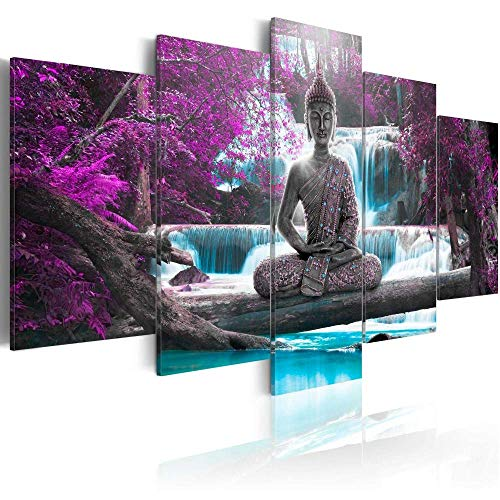 Canvas Print Design Wall Art Painting Decor Zen Decorations for Home Buddha Landscape Artwork Pictures Bedroom (Purple, Overall 40''W x 20''H)