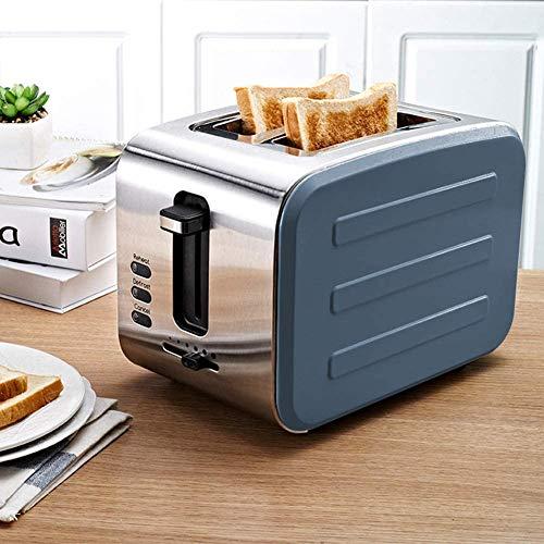 RENXR 750W 2 Scheiben Toaster, Clever Frühstück-Maschine Rostfreier Stahl Haushalt Sechsgang-Backen Clever Modus Brotmaschine Küchengeräte,Blau