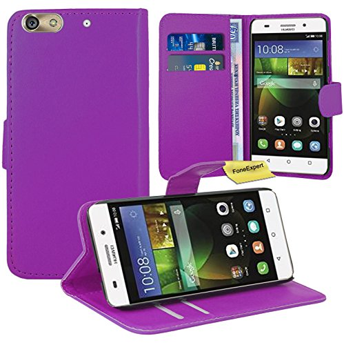 FoneExpert® Huawei G Play Mini/Honor 4C Handy Tasche, Wallet Hülle Flip Cover Hüllen Etui Ledertasche Lederhülle Premium Schutzhülle für Huawei G Play Mini/Honor 4C (Lila)