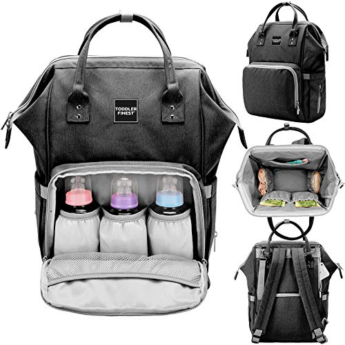 Designer Diaper Bag Backpack - Travel Organizer Tote Nappy Baby Bags for Girls & Boys - Multi-Function, Waterproof, Large Capacity, Stylish, Durable - w/Stroller Straps - for Mom Dad Men Women (Grey)