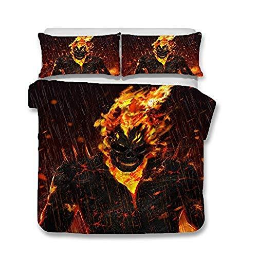 WTTING 3D Ghost Rider - Funda de edredón y 2 fundas de almohada de microfibra, con cremallera, impresión digital 3D (I,King 220 x 240 cm)