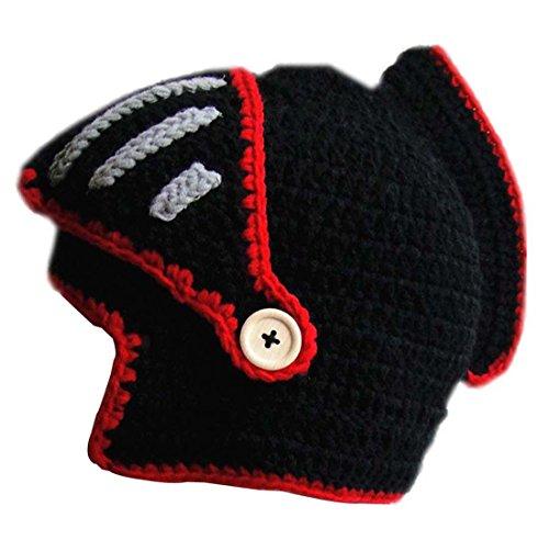 Kuyou Winter Strickmütze Warme Beanie Unisex Skimaske Cap, Schwarz/Rot, one size
