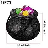 STOBOK 12 Stück Hexenkessel Schwarz,kleine Hexe Süßes oder Saures Süßigkeiten Halter Halloween Candy Bucket - 5