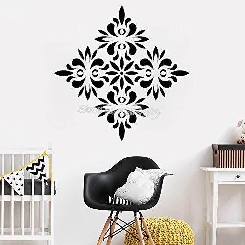 mlpnko Etiqueta de la Pared Americana Regular patrón de Flores Etiqueta de la Pared removible Sala de Estar Dormitorio decoración del hogar 75x75cm